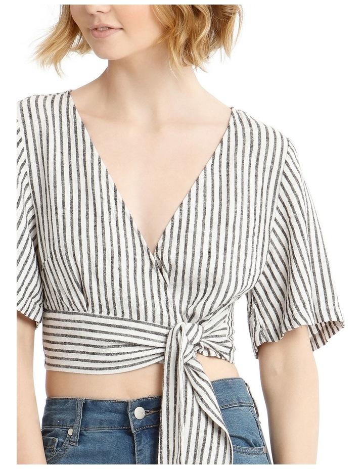 Linen Blend Wrap Top B&W Stripe image 4