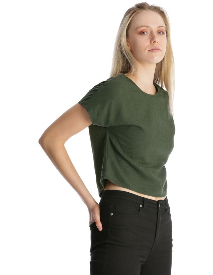 Linen Blend Shell Top with Back Buttons in Khaki image 2