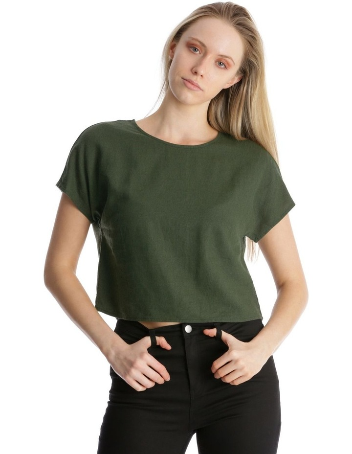 Linen Blend Shell Top with Back Buttons in Khaki image 3