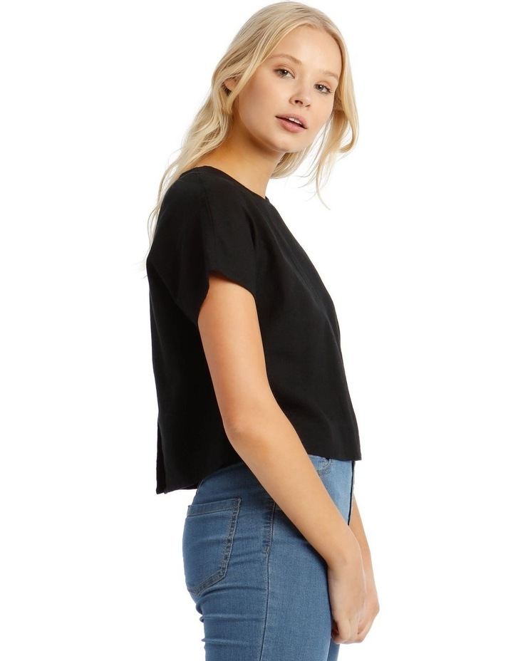 Linen Blend Shell Top with Back Buttons in Black image 2