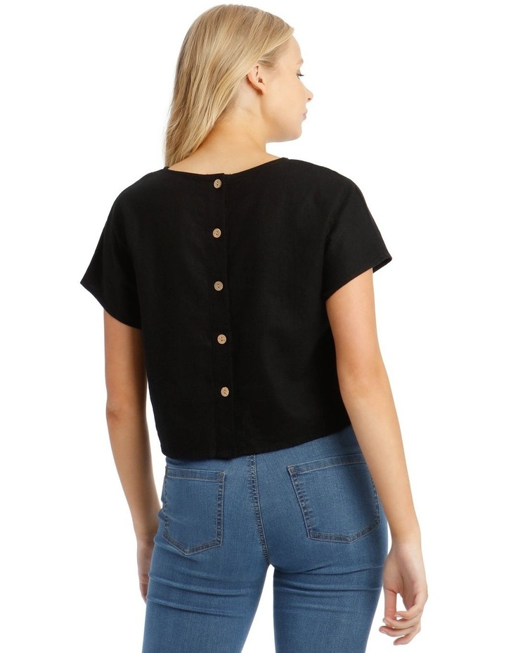 Linen Blend Shell Top with Back Buttons in Black image 3