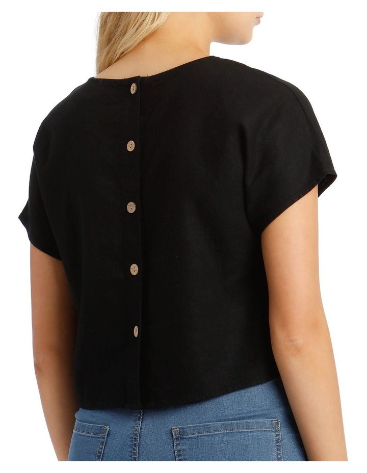 Linen Blend Shell Top with Back Buttons in Black image 4