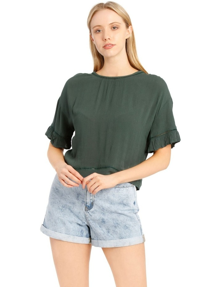 Ladder Trim Flounce Sleeve Boxy Top image 1