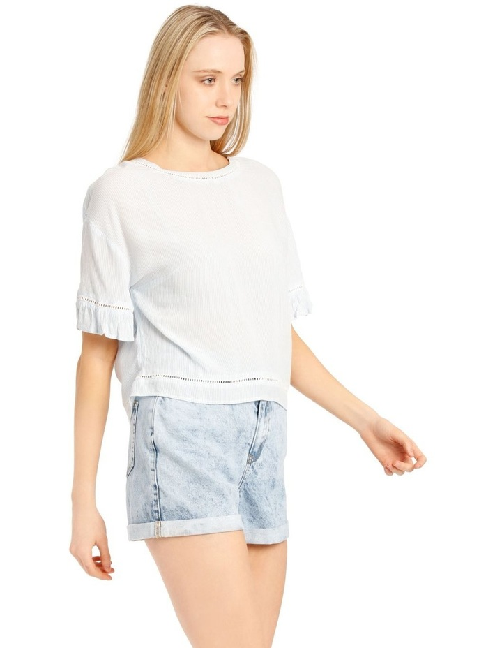 Ladder Trim Flounce Sleeve Boxy Top image 2