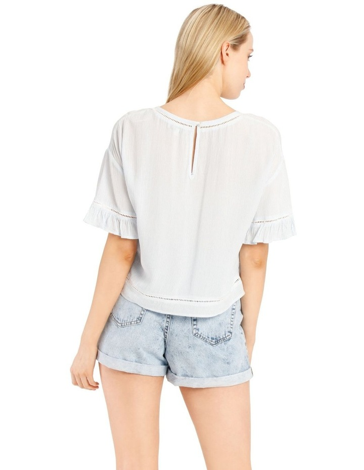 Ladder Trim Flounce Sleeve Boxy Top image 3
