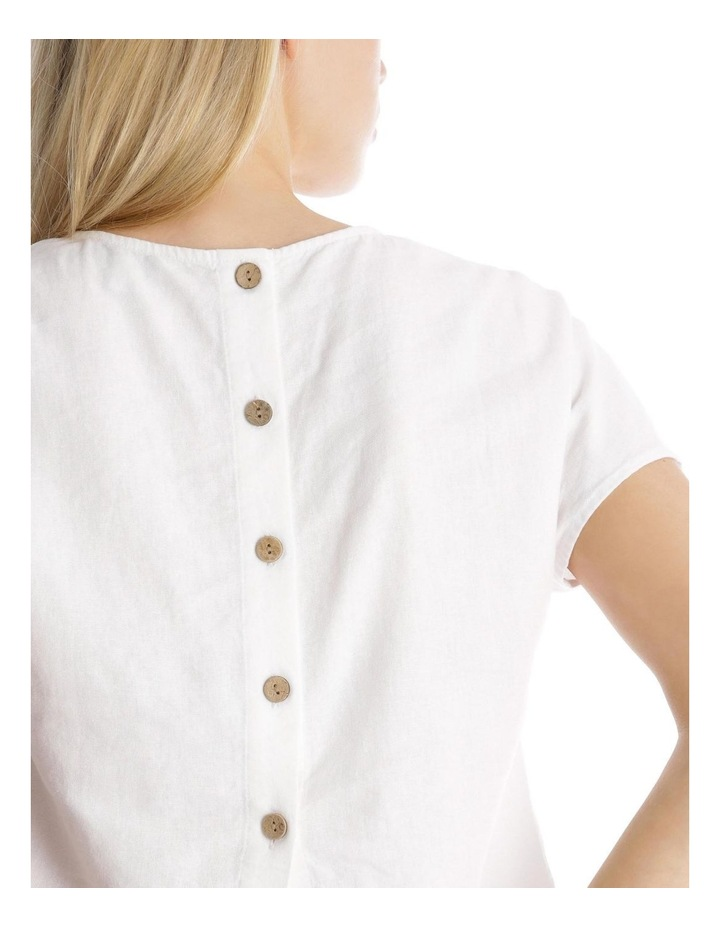 Button Back Linen Blend Shell Top image 4