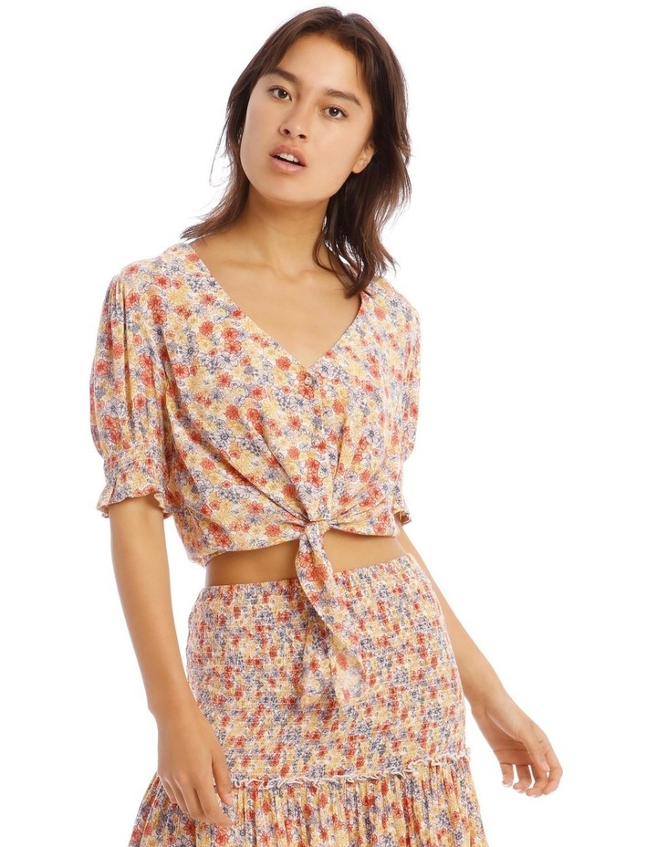 Puff Sleeve Tie Front Top - Retro Floral Print image 1