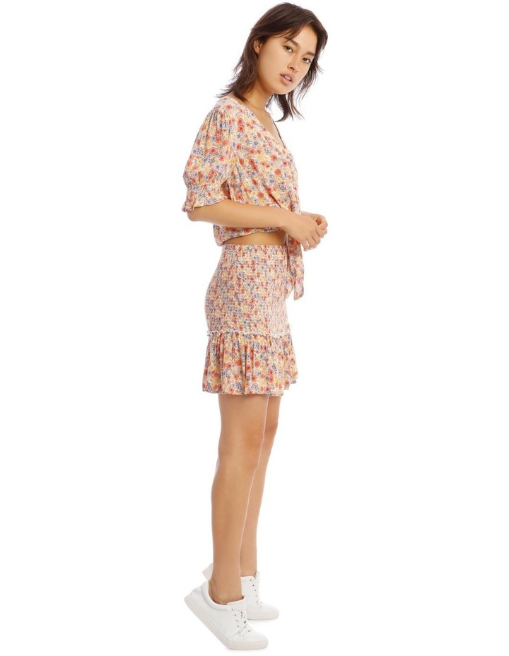 Puff Sleeve Tie Front Top - Retro Floral Print image 2