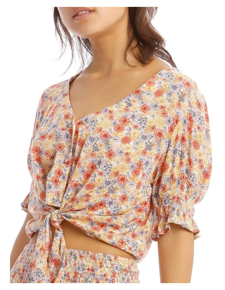 Puff Sleeve Tie Front Top - Retro Floral Print image 4