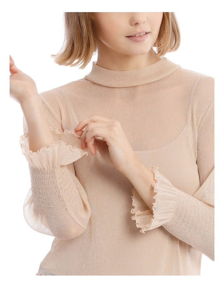 Gold Shimmer Long Sleeve Sheer Top image 4