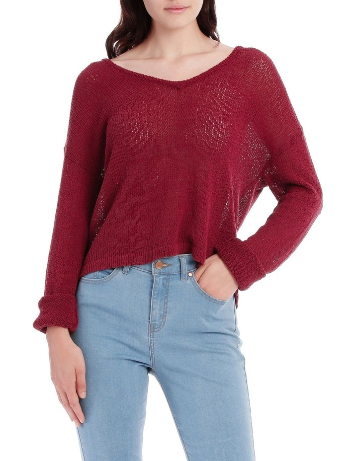Vee Neck Cropped Light Weight Jumper image 1