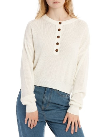 2697ffbba6 Miss Shop Button Front Cropped Jumper