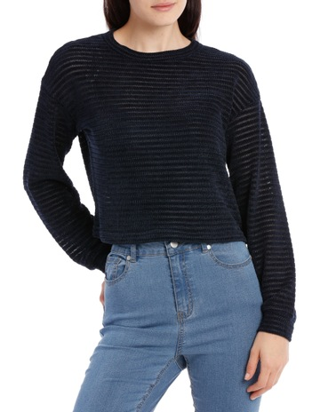 439f3135c7f Miss Shop Chenille Stripe Cropped Jumper