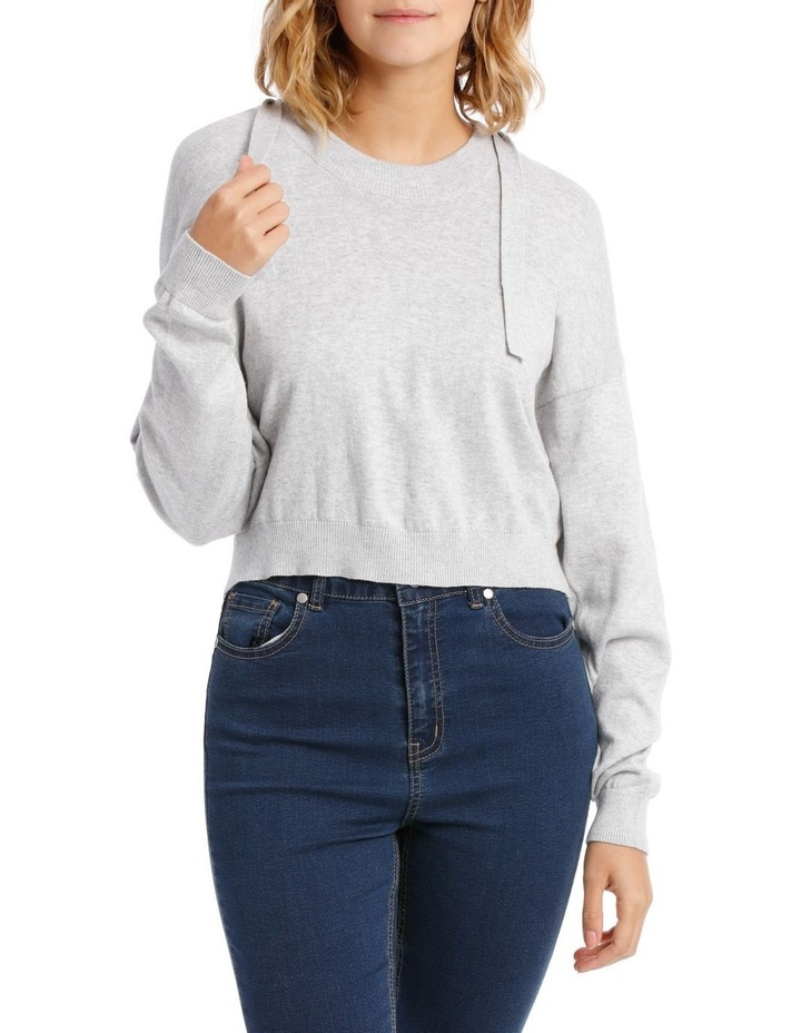 Cropped Hooded Knit Sweat Top image 1