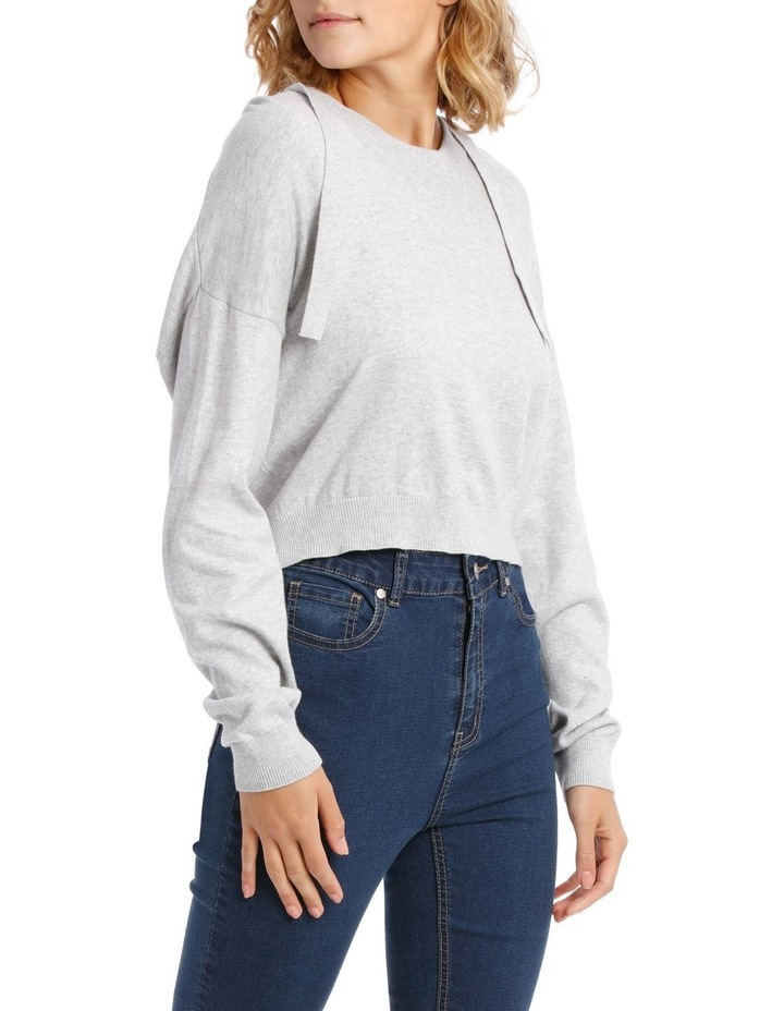 Cropped Hooded Knit Sweat Top image 2