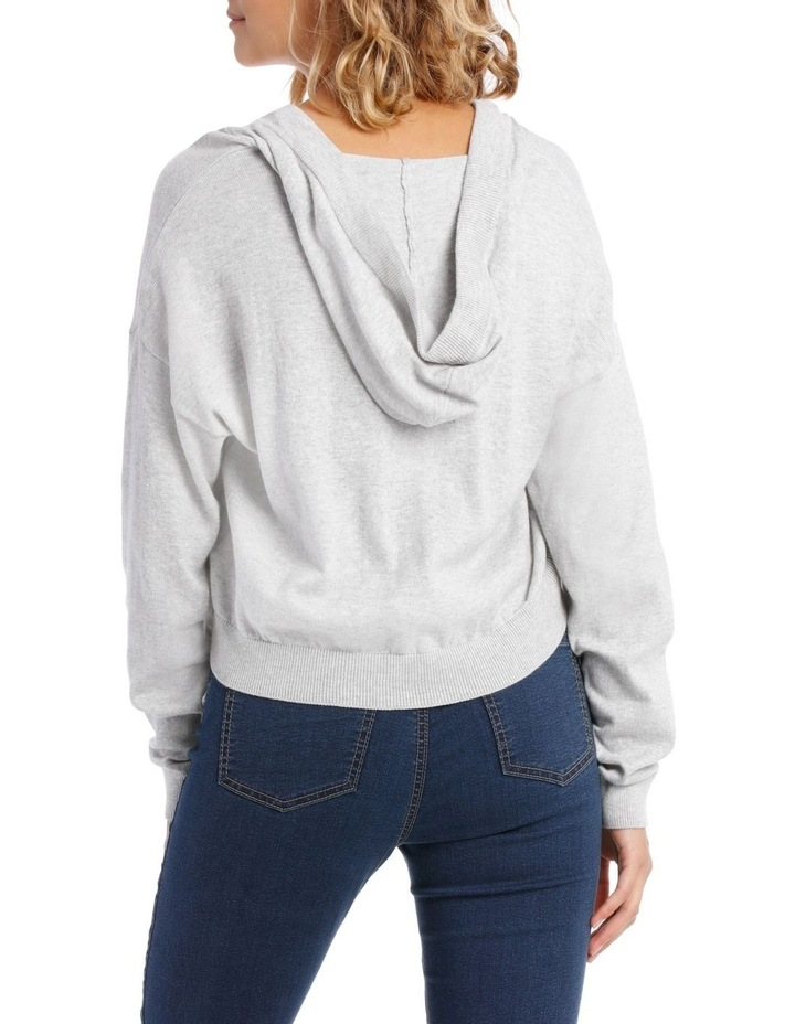 Cropped Hooded Knit Sweat Top image 3