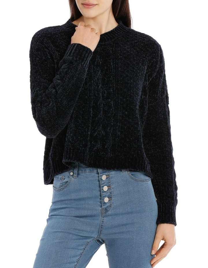 Crew Neck Cable Front Chenille Jumper image 1