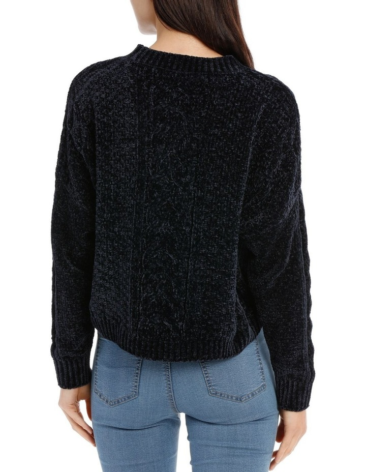 Crew Neck Cable Front Chenille Jumper image 3
