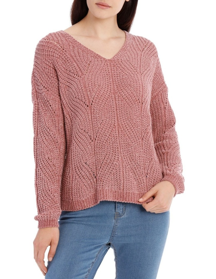 Pointelle V Neck Chenille Jumper image 1