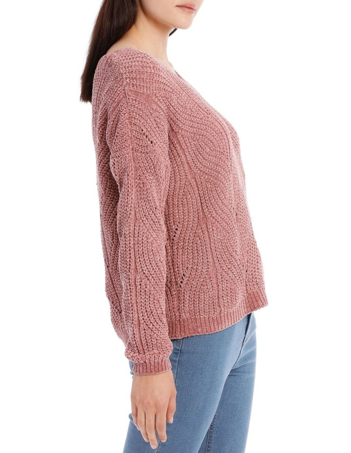 Pointelle V Neck Chenille Jumper image 2