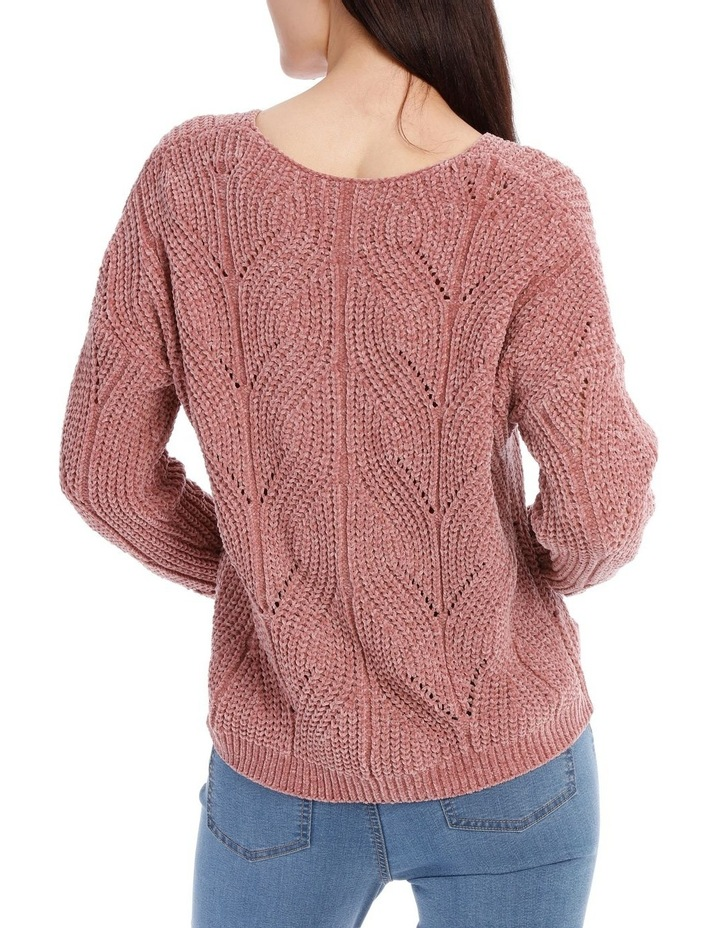 Pointelle V Neck Chenille Jumper image 3