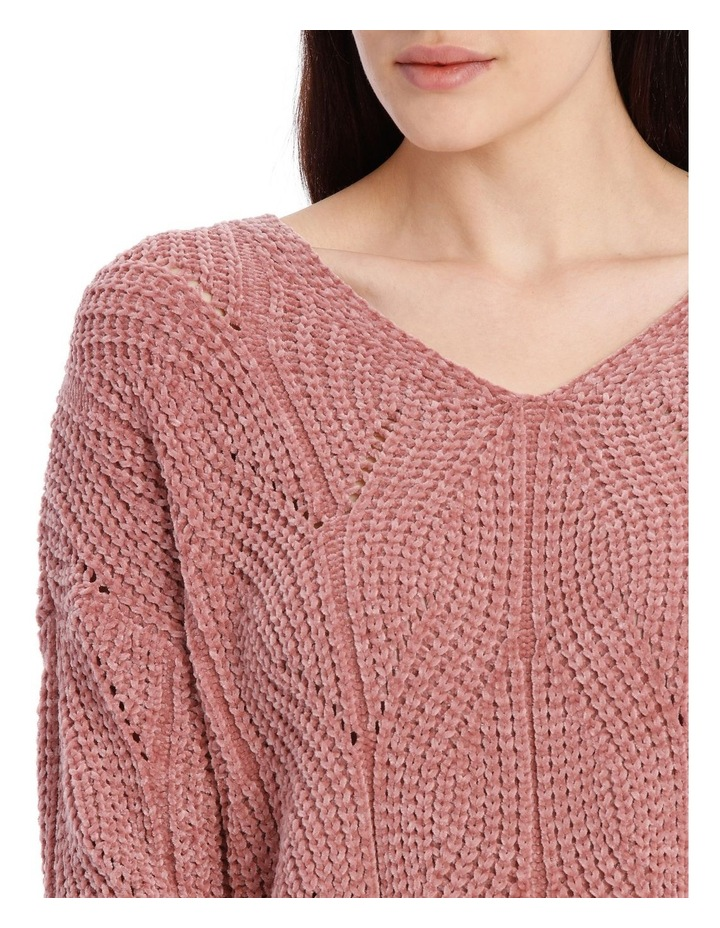 Pointelle V Neck Chenille Jumper image 4
