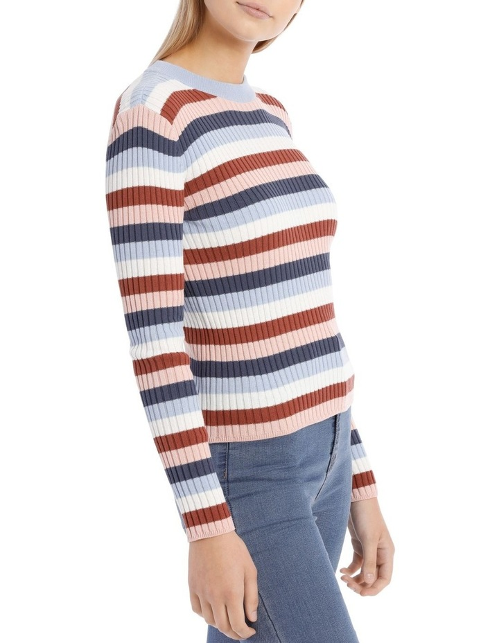 Fitted Stripe Crew Neck Jumper image 2