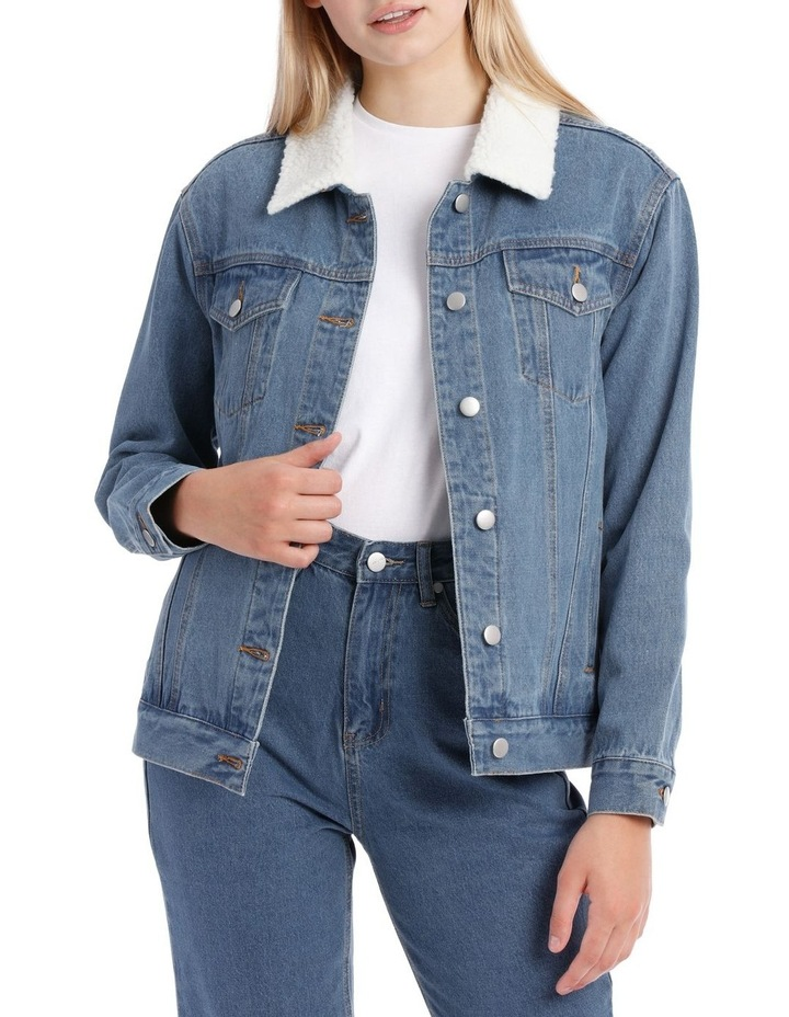 Sherpa Collar Denim Jacket image 1