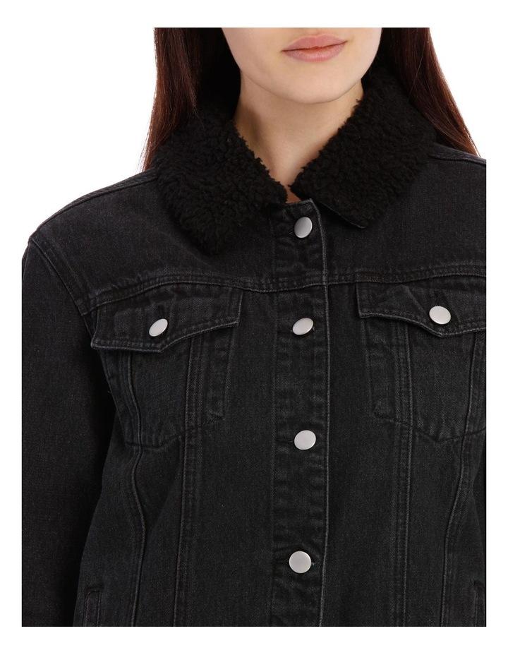 Sherpa Collar Denim Jacket image 4