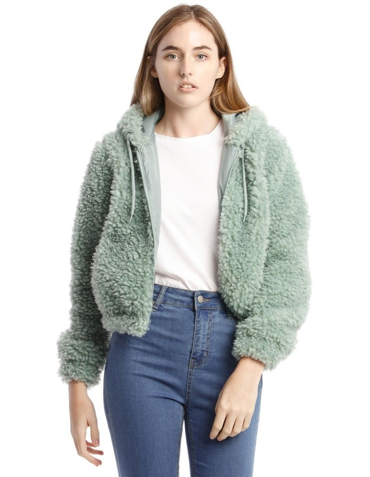 Fluffy Hooded Jacket in Mint image 1