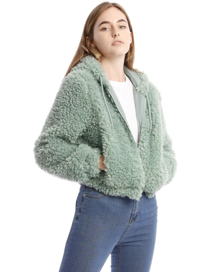 Fluffy Hooded Jacket in Mint image 2