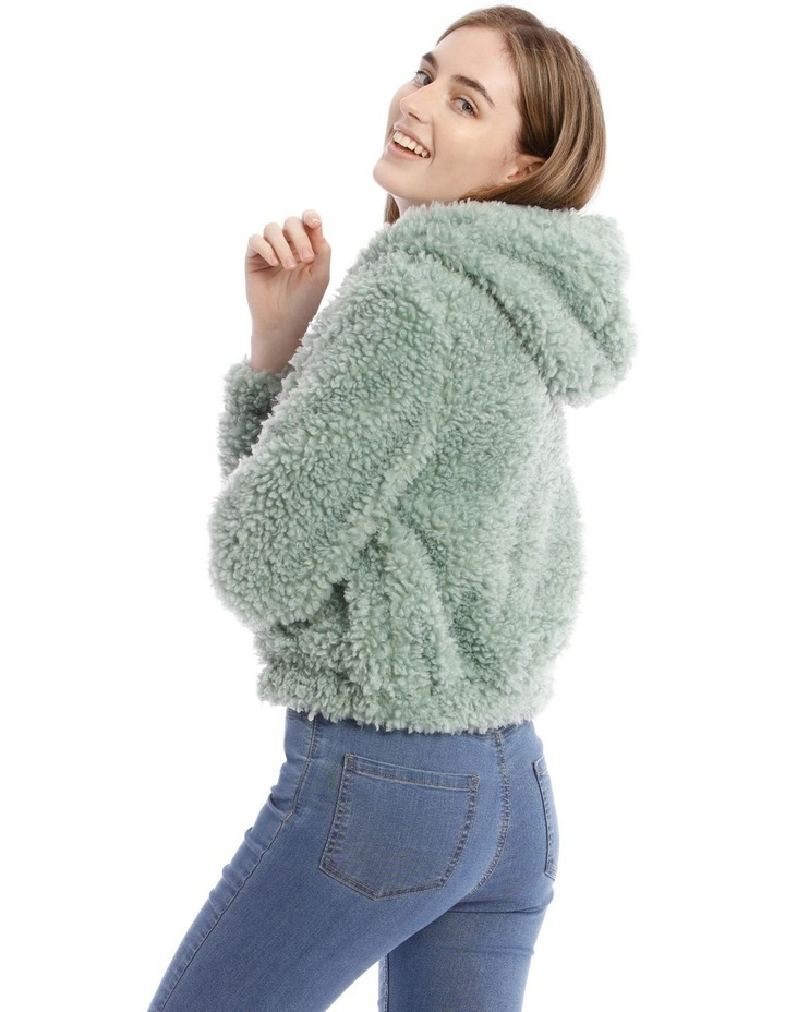 Fluffy Hooded Jacket in Mint image 3