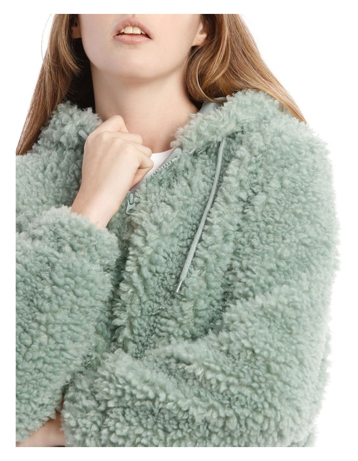 Fluffy Hooded Jacket in Mint image 4