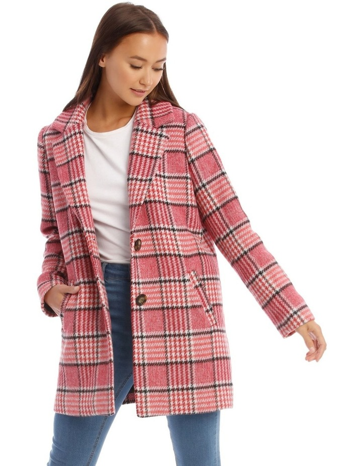 Sunset Red Houndstooth Check Coat image 1