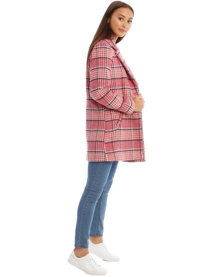 Sunset Red Houndstooth Check Coat image 2