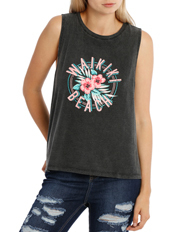 Miss Shop - Casual Black Graphic Tee Muscle Tank (Waikiki Beach) MSCS18414