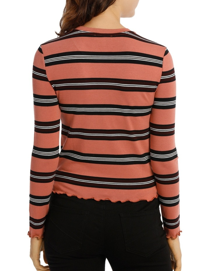 Retro Stripe Long Sleeve Top Mscw18206 image 3