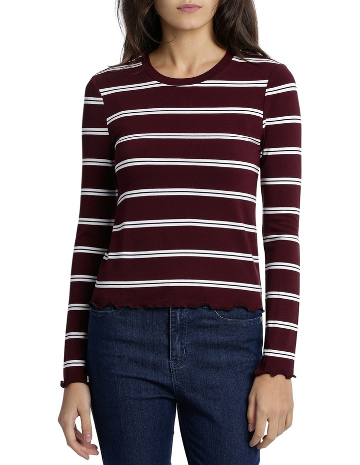 Retro Stripe Long Sleeve Top Mscw18206 image 1