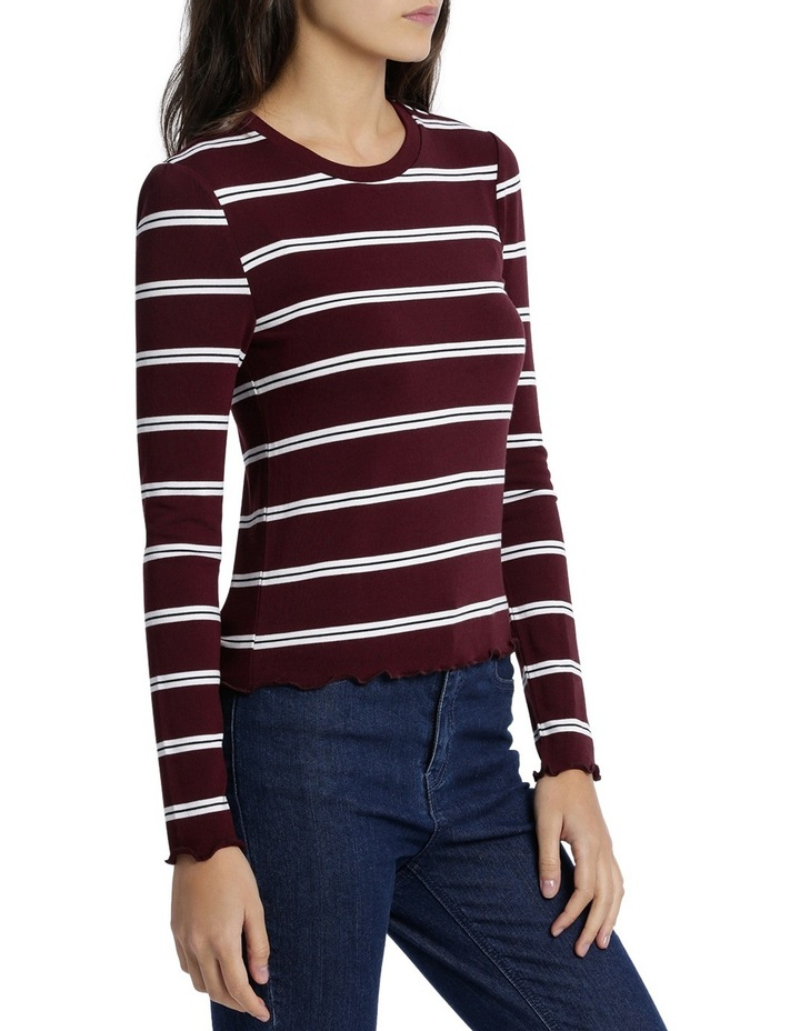 Retro Stripe Long Sleeve Top Mscw18206 image 2
