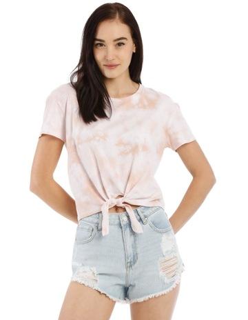 5b2535b9c5d118 Miss Shop Splatter Tie Dye Tie Front T-Shirt