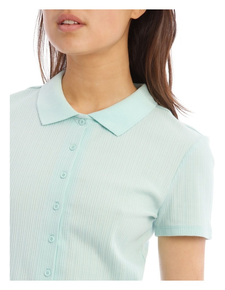 Mint Pointelle Collar Tee image 4