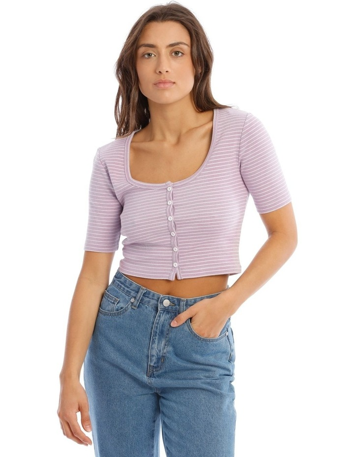 Short Sleeve Button Front Rib Tee image 1