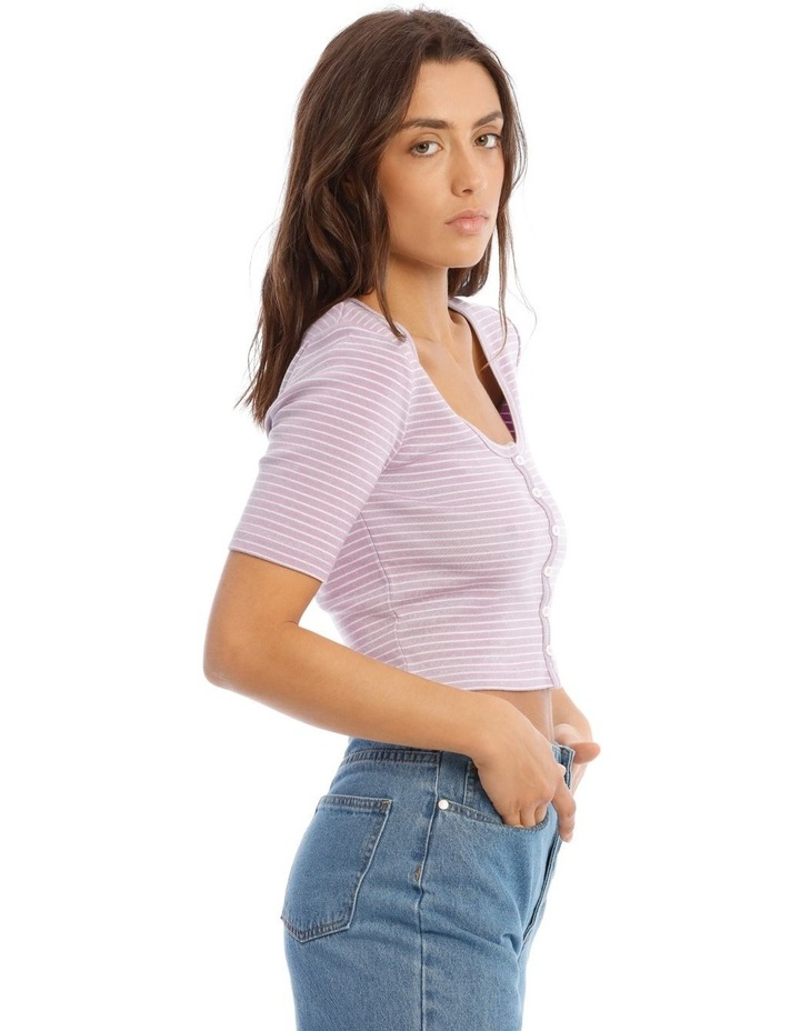 Short Sleeve Button Front Rib Tee image 2
