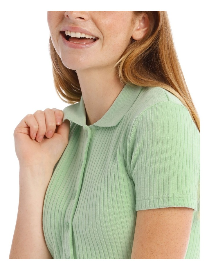 Short Sleeve Cropped Rib Polo image 4