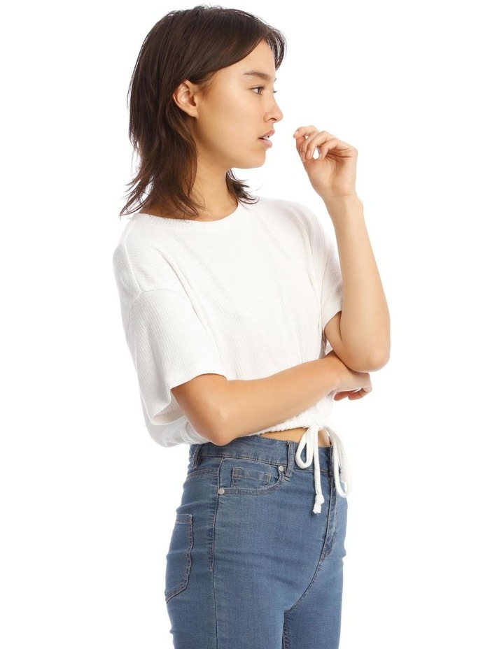 Short-Sleeve Relaxed Tee With Drawstring In White image 2