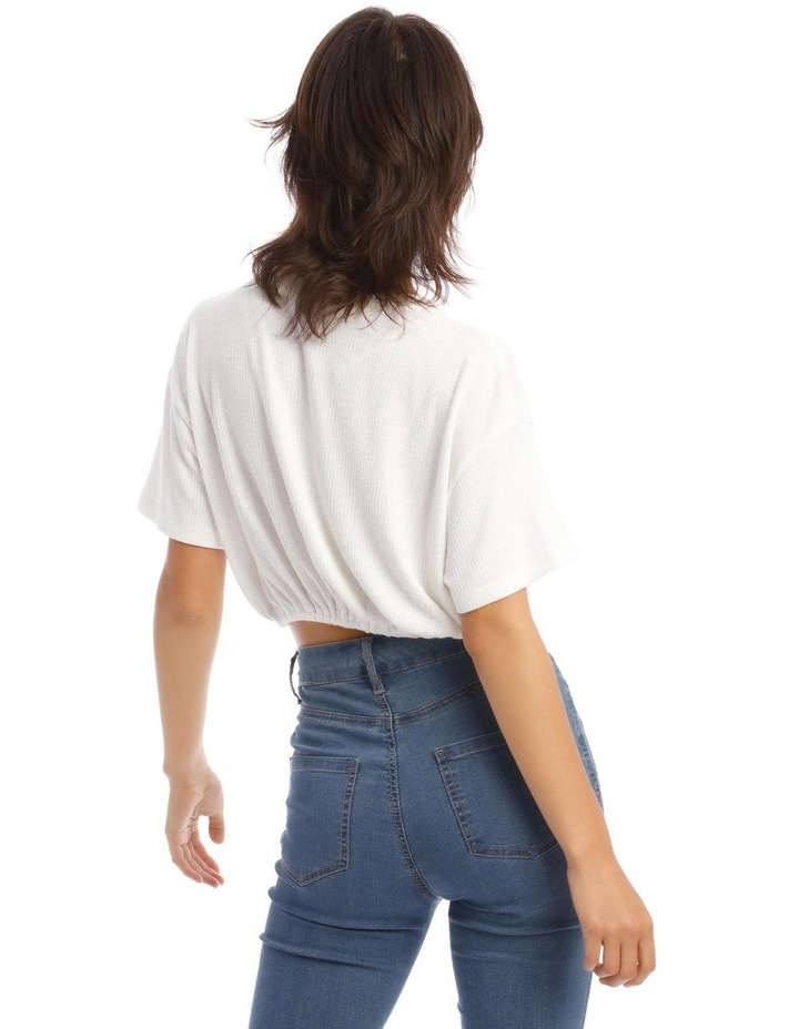 Short-Sleeve Relaxed Tee With Drawstring In White image 3