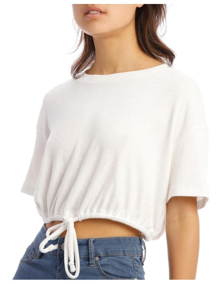 Short-Sleeve Relaxed Tee With Drawstring In White image 4