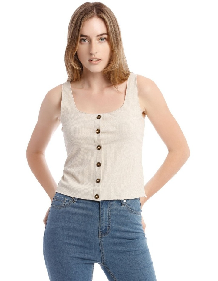 Gold Shimmer Button-Down Ribbed Camisole image 1
