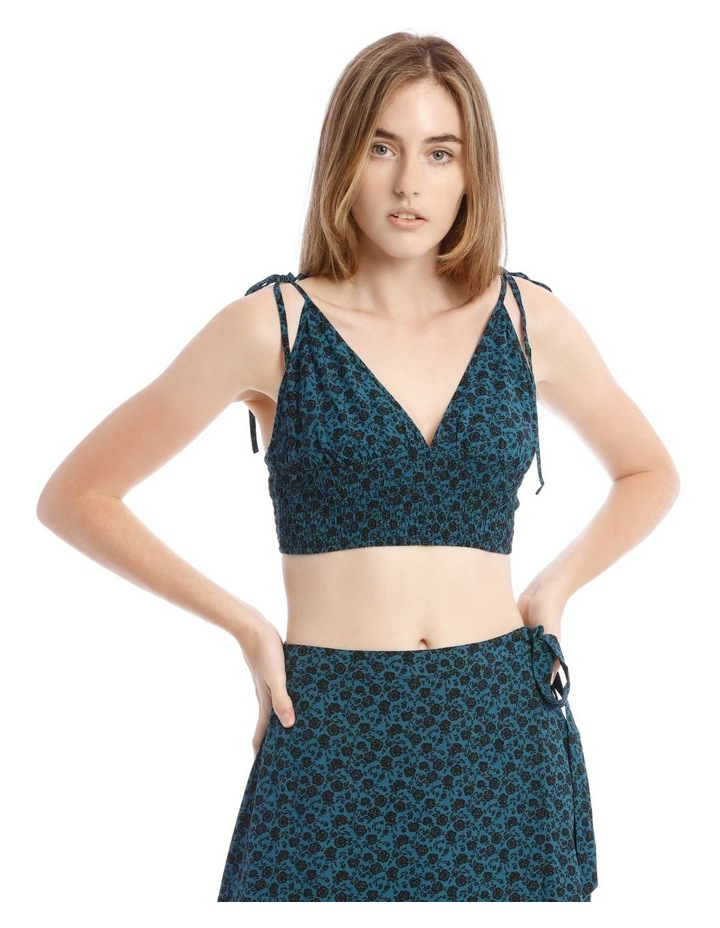 Teal Ditsy V-Neck Top With Shirred Bodice image 1