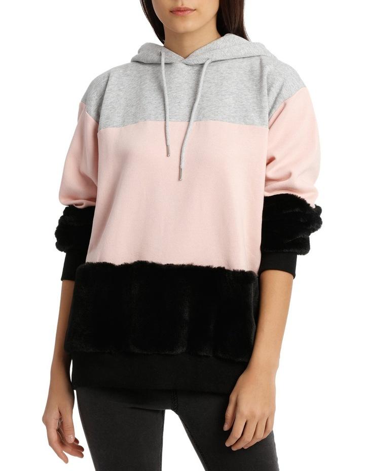 Fur Colour Block Hoodie Sweat MSCW18139 image 1